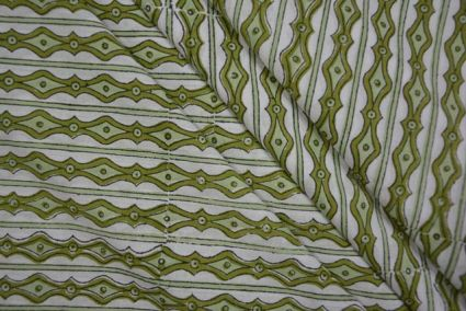 WHITE AND GREEN STRIPED BLOCK PRINT COTTON FABRIC-HF3469