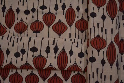 RED AND BLACK COTTON BLOCK PRINTED FABRIC-HF1624