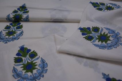 BLUE FLORAL HAND BLOCK PRINTED FABRIC-HF1627