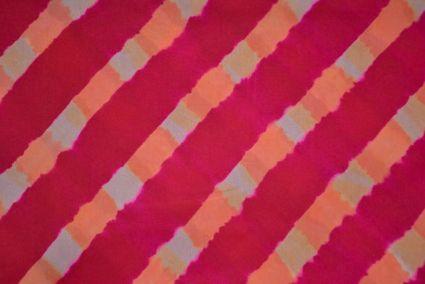 Rose Red Shibori Block Print Handloom Mulberry Silk Fabric