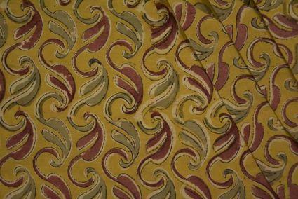 Mustard Paisley Block Print Kalamkari Cotton Fabric