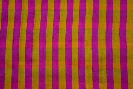 Yellow And Pink Striped Handloom Raw Silk (dupion)