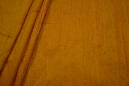 Saffron Golden Yellow Handloom Raw Silk (dupion)