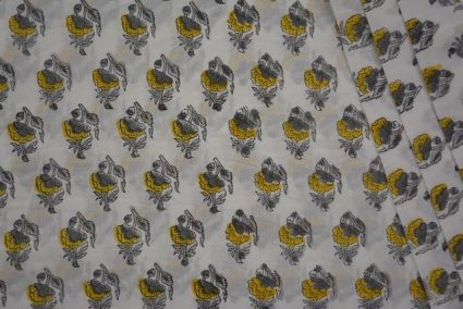 YELLOW AND GREY FLORAL BLOCK PRINT COTTON FABRIC-HF3559
