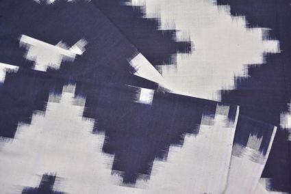 WHITE AND NAVY BLUE DOUBLE IKAT FABRIC-HF3561