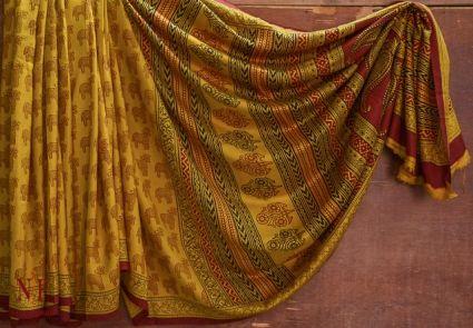 GOLDEN ORANGE HANDLOOM WOMEN'S MULBERRY SILK SAREES -HF3741