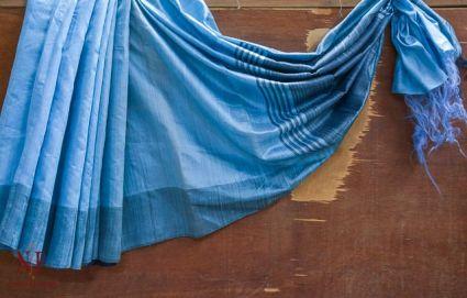 AIRY BLUE HANDLOOM WOMEN'S PURE DUPION SILK SAREES -HF3745