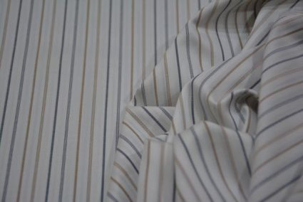 WHITE COLOR & BLACK BROWN LINES GIZA COTTON FABRICS -HF3689