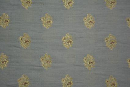 Soft Grey Golden Zari Banarasi Silk Cotton Fabric