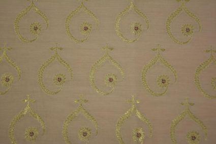 Beige Golden Zari Banarasi Silk Cotton Fabric