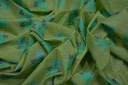 GREEN EMBROIDERED FLORAL SILK COTTON FABRIC -HF3600
