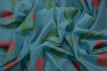 SKY BLUE EMBROIDERED FLORAL SILK COTTON FABRIC -HF3603