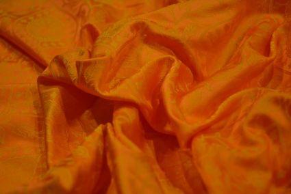 Marigold Tanchui Banarasi Silk Fabric