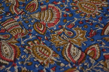 BLUE FLORAL COTTON BLOCK PRINTED FABRIC-HF3762