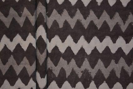 NATURAL DYE ZIG ZAG GREY BLOCK PRINT FABRIC-HF1730