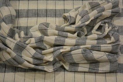 White And Black Checks Organic Handloom Cotton Fabric