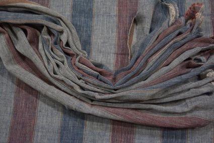 Multi Color Striped Organic Handloom Cotton Fabric