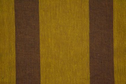 Oil Yellow And Brown Striped Organic Handloom Cotton Fabric