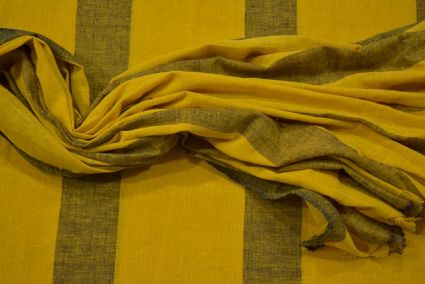 Mimosa And Black Striped Organic Handloom Cotton Fabric