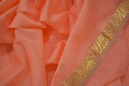 Coral Haze Zari Border Maheshwari Silk Handloom Fabric