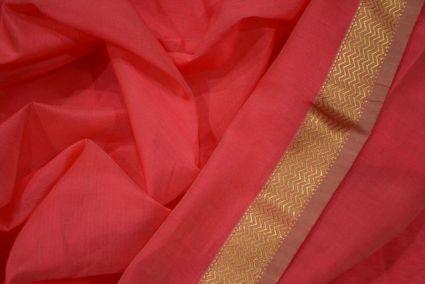 Rose Of Sharon  Zari Border Maheshwari Silk Handloom Fabric