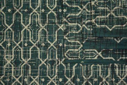 GEOMETRIC PRINTED GREEN INDIAN COTTON FABRIC-HF1775