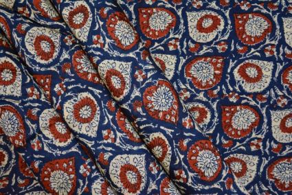 ROYAL BLUE FLORAL FINE RAYON FABRIC-NVRF44