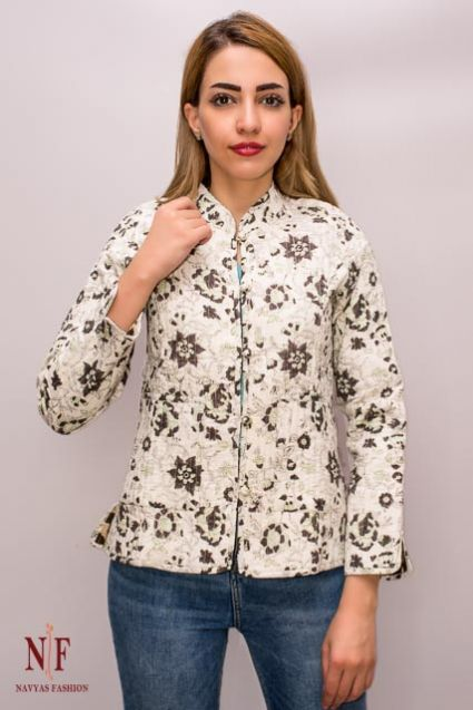 Mustard & Green Flower Quilted Jackets - NVQJ152