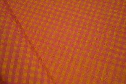 Caral Yellow Checks Pattern Mangalgiri Pure Handloom Cotton Fabric