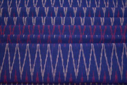 ROYAL BLUE FINE IKAT HANDLOOM FABRIC-HF1823