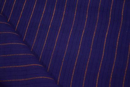 Royal Blue Zari Striped Mangalgiri Pure Handloom Cotton Fabric