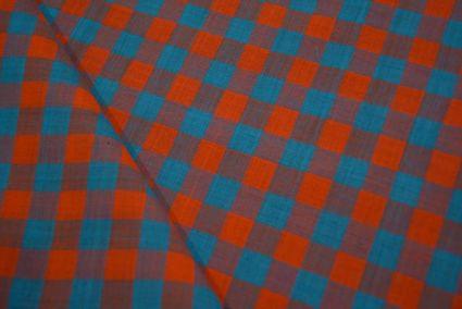 Vivide Blue And Orange Checks Pattern Mangalgiri Pure Handloom Cotton Fabric