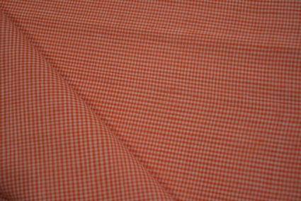 Dusty Orange Checks Pattern Mangalgiri Pure Handloom Cotton Fabric