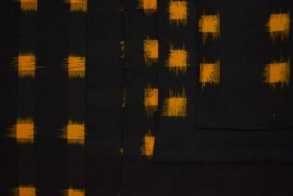 BLACK AND MUSTARD DOUBLE IKAT COTTON FABRIC -HF3905