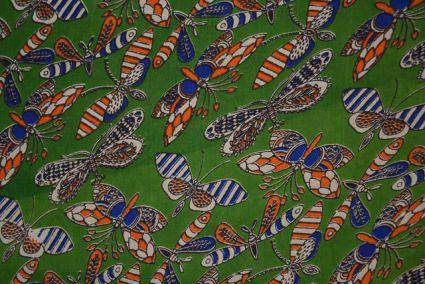 Butterfly Cotton Block Print Kalamkari Fabric