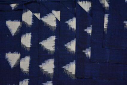 BLUE TRIANGLE DOUBLE IKAT FABRIC-HF1961