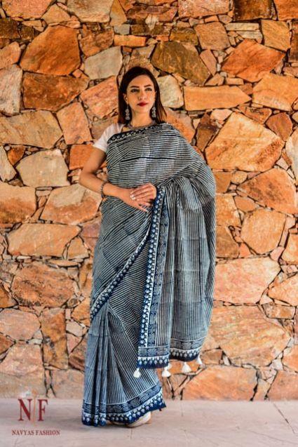 Indigo Dyed Block Print Cotton Sarees - CBS1