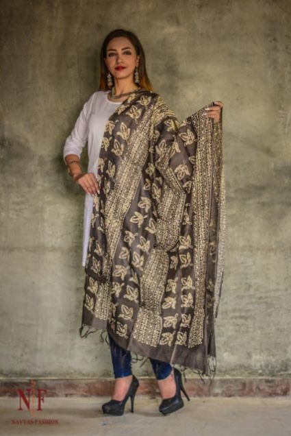 Kashish Grey Designer Chanderi Block Printed Cotton Silk Dupatta