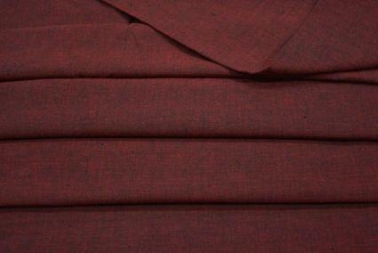 GARNET RED DOUBLE TONE HANDWOVEN COTTON FABRIC-HF2033