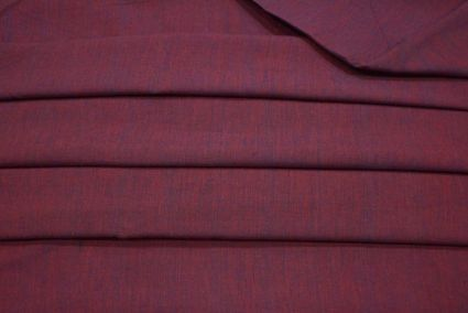 PLUM RED DOUBLE TONE HANDWOVEN COTTON FABRIC-HF2038