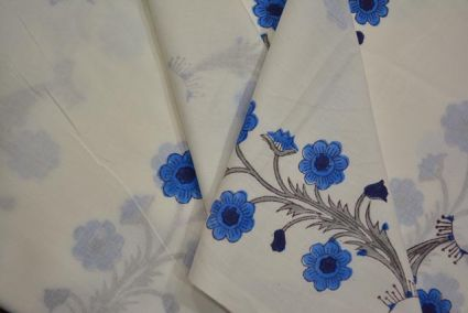 WHITE AND BLUE FLORAL COTTON HAND BLOCK PRINT FABRIC-NVHF4106