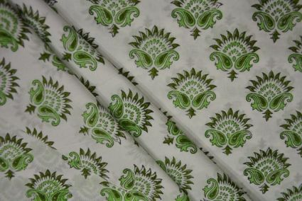 WHITE AND GREEN FLORAL PAISLEY COTTON HAND BLOCK PRINT FABRIC-NVHF4110