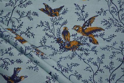 GREYISH BLUE BIRD PRINTED RAYON FABRIC-HF4120