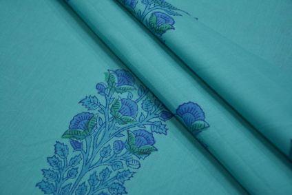 SCUBA BLUE FLORAL BORDERED COTTON BLOCK PRINT FABRIC-NVHF4146