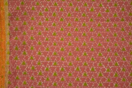Pink And Green Bordered Chanderi Fabric