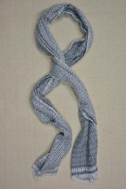 GREY AND WHITE DESIGNER CASHMERE WOOL STOLE-C45