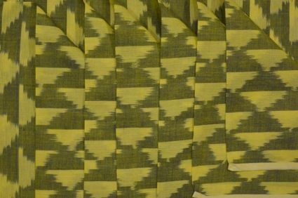 GREEN AND YELLOW FINE IKAT FABRIC-NVHF2090