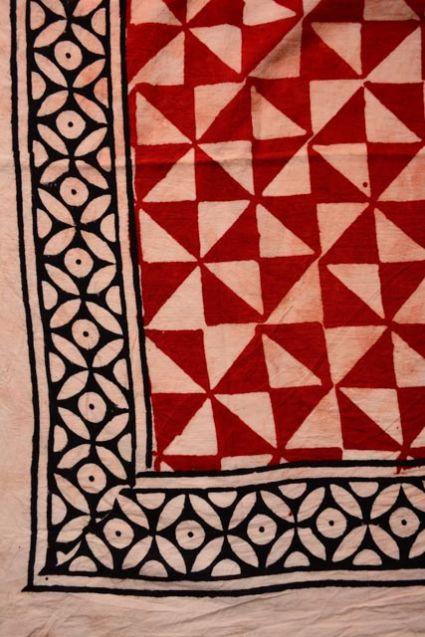Red And Black Block Printed Pareo Sarong