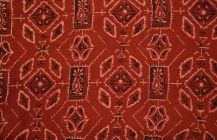 Maroon Paisley Ajrakh Block Print Rayon Fabric