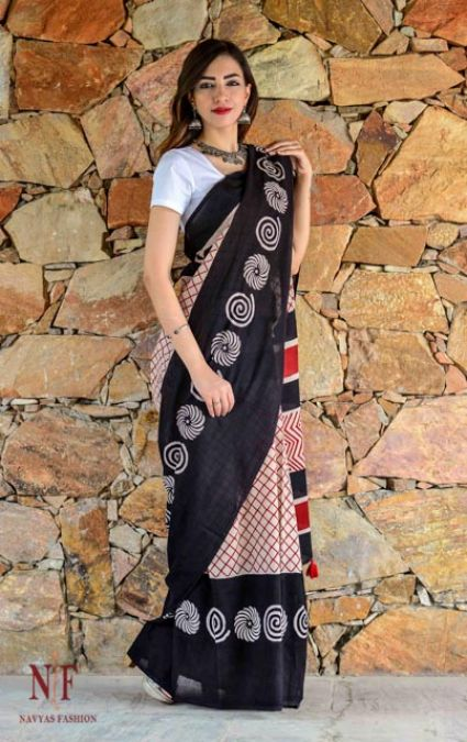 RED AND BLACK HAND BLOCK PRINTED COTTON SAREES -CBS19